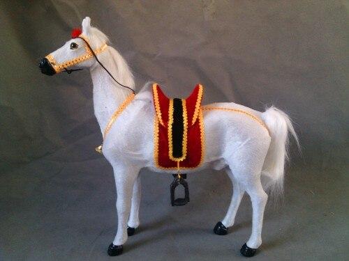 Grand 42x40 cm simulation cloche cheval modèle jouet, polyéthylène & fourrures cheval blanc avec selle, prop, décoration de la maison, cadeau de noël 0715