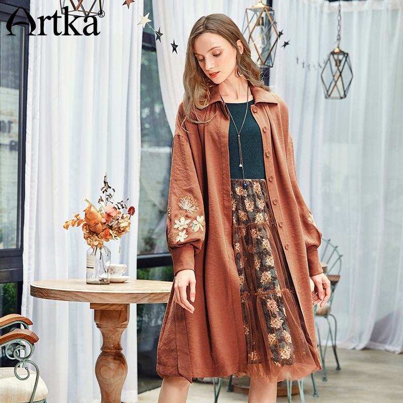 ARTKA 2018 Early Autumn New Fashion Vintage Embroidery Lantern Sleeve A-line Trench Coat with Belt FA10081Q
