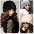 Fashion Rabbit Fur Russian Lady Knitted Cap Vintage Women Winter Warm Beanie Hat Female Headgear  Hot