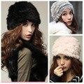 Moda de Pele de Coelho Russo Senhora Tampão Feito Malha Das Mulheres Do Vintage Inverno Quente Beanie Chapéu Feminino Chapelaria Quente