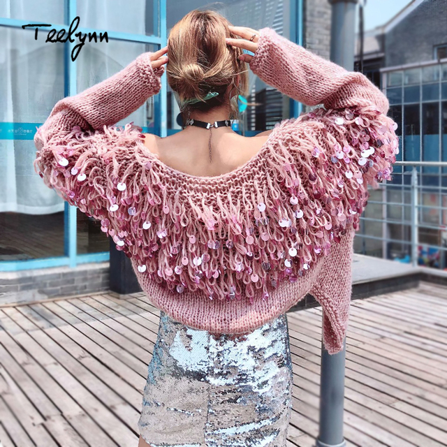 26ccf8e0a3 TEELYNN Boho women cardigan sweater 2018 winter sequins glitter long sleeve  mohair coat Casual knitted women sweaters outwear