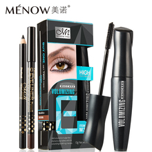 3pcs/set Menow Makeup Set Mascara with 2pcs Eye Liner Pencil Volumizing Waterproof Black + Brown Pen High Quality