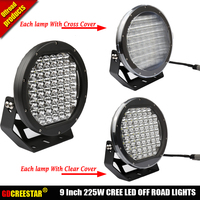 225 Вт светодиодный свет 12 В 24 В LED вождения Spotlight 9 дюймовый круглый бездорожье лампы для Wrangler 4X4 ATV UTV 4WD прицеп x1pc Бесплатная