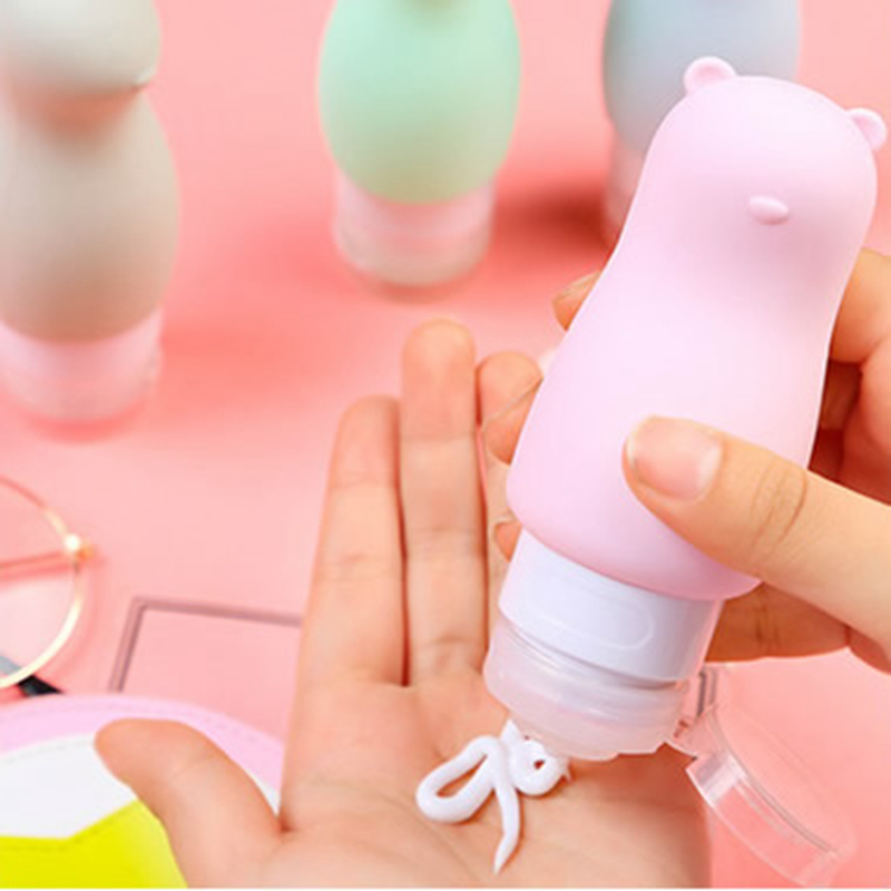 Cute Animal Silicone Travel Bottles Cosmetic Shampoo Lotion Container Tube Squeeze Travel Accessories Refillable Bottle Storage