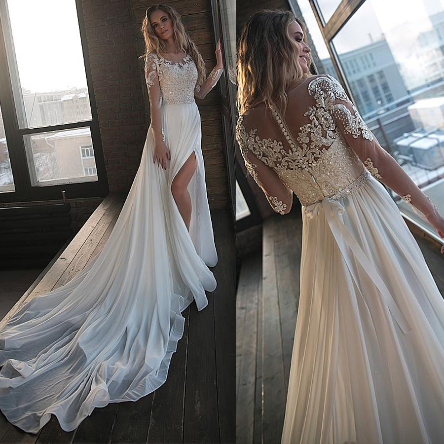 Unique Chiffon Jewel Neckline A-line Wedding Dresses With Beaded Lace Appliques Long Sleeves Side Slit Bridal Dress