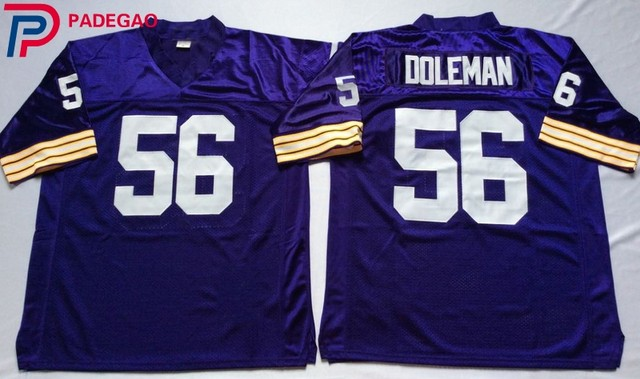 brand new fe053 ae33c Embroidered Logo Chris Doleman 56 white purple throwback high school  FOOTBALL JERSEY for fans gift cheap 1107 27-in America Football Jerseys  from ...
