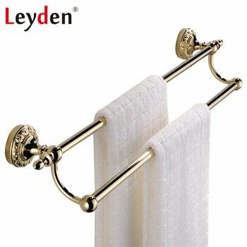 Leyden Luxury Solid Brass Double Towel Bar Towel Hanger Bathroom Copper Clothes Hanger Wall Mounted Golden Bathroom Accessories