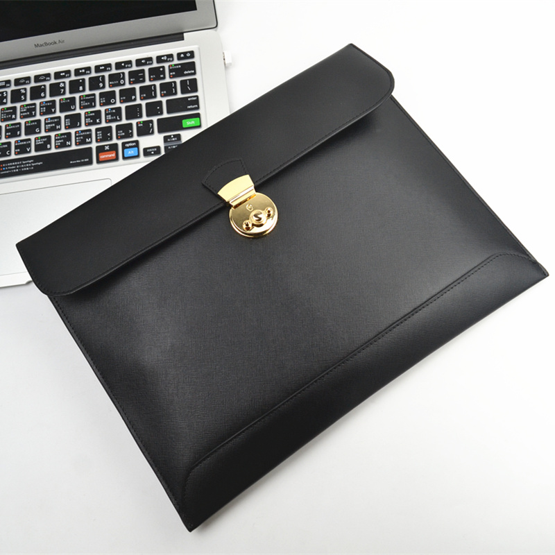 Fashion Genuine Leather A4 Document Bag Briefcase Portfolio Padfolio Handbag Storage Bag For Reports Papers Macbook Ipad Bag