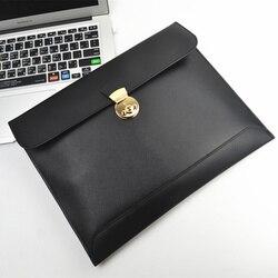 Fashion genuine leather A4 document bag briefcase portfolio padfolio handbag storage bag for reports papers macbook ipad bag