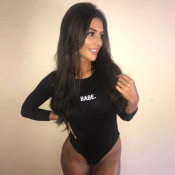 Fashion Sexy Women BABE Letter Long Sleeved Bodysuits Casual Skinny Bodysuits  Autumn Winter O-neck One Piece Body Bodysuits 6