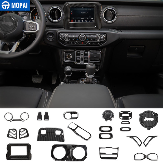 MOPAI Interior Mouldings for Jeep Wrangler JL 2018 Carbon Fiber Car Interior Decoration Kit Cover for Jeep Wrangler Accessories