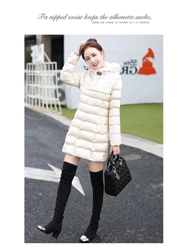 New Arrival Fashion Winter Long Sleeves Hooded Fur Collar Wash Pu Leather Thicken Jackets Mid-Long Cotton Women Coat H6198 democracy women s mineral wash shark bite woven with roll tab sleeves