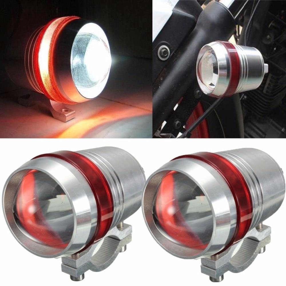 2pcs 12V LED Motorcycle Headlight 30W U3 Driving lamp fog lights Head Lamp Spotlight Strobe with Red Angel Eye Halo ATV Offroad стоимость