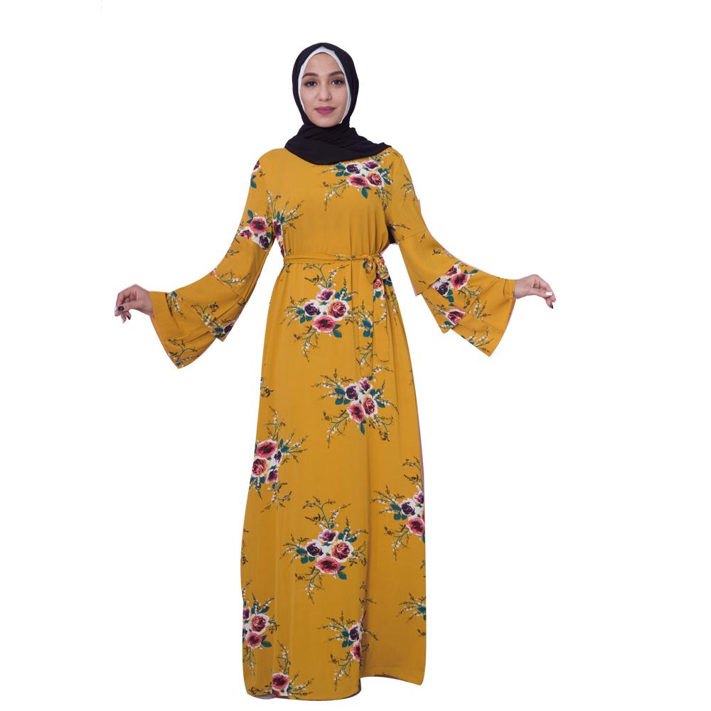 New Women Muslim Maxi Dress Jilbab Abaya Gown Dubai Floral Printed Belt Arab Middle East Dress Islamic Clothing Ramadan Fashion