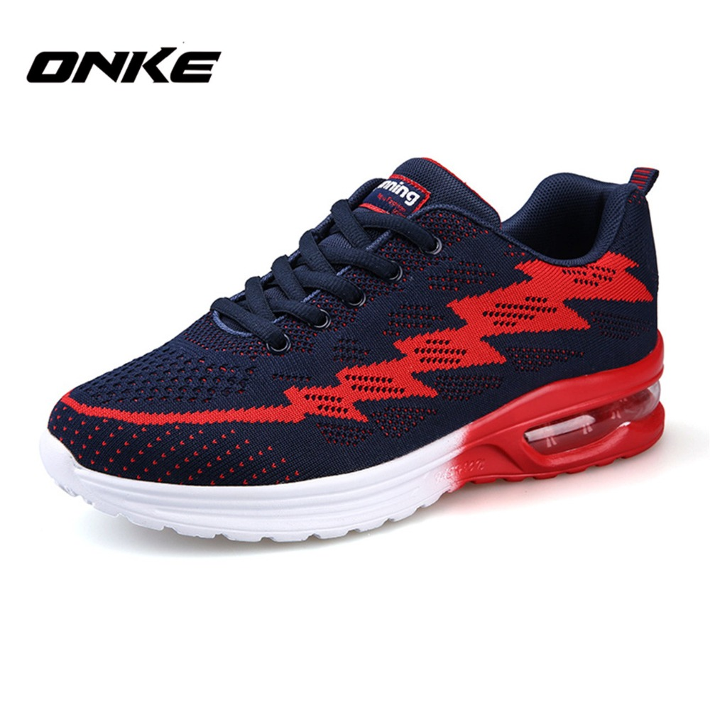 ФОТО Onke New Men Running Shoes Cushion Breathable Mesh Women Sneakers Lovers Sport Shoes Outdoor High Quality Zapatillas 2016 Shoes