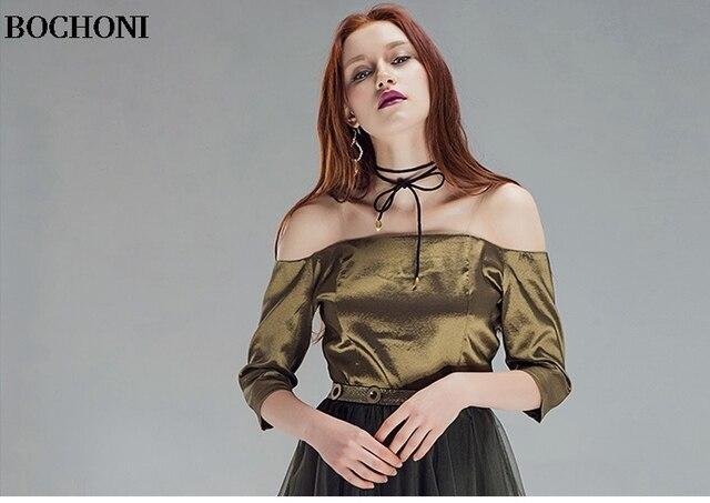 Sexy word collar metal color temperament wild sleeve shirt