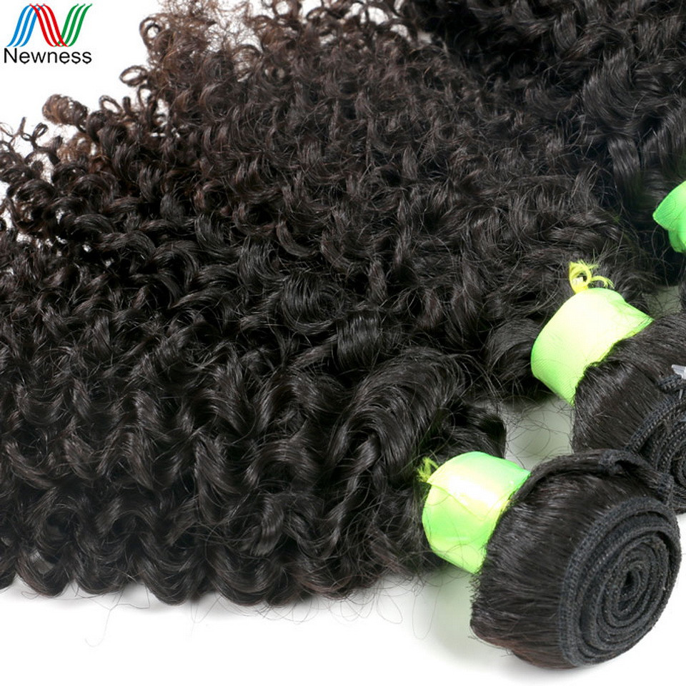 Newness Raw Indian Hair Kinky Curly Human Hair Weaving Bundles Natural Color 1 Piece Remy Hair Extensions
