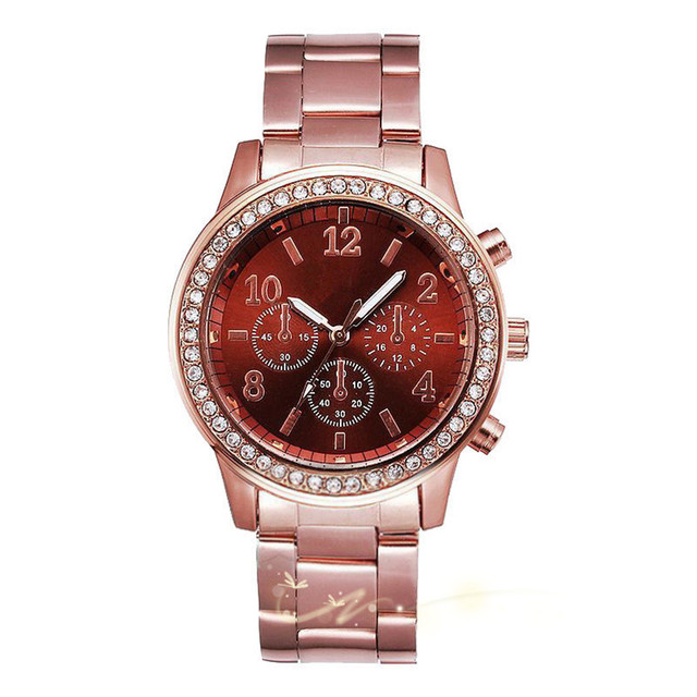 Chronograph Quartz Plated Classic Round Crystals Watch 3