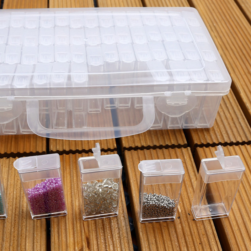 Plastic Transparent Storage Box 64 Grid Rhinestone Embroidery Stone Storage Accessory Hot Sale in Storage Boxes Bins from Home Garden