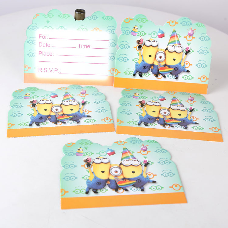 10pcslot boys girls party supplies minions theme birthday party 10pcslot boys girls party supplies minions theme birthday party decoration paper invitation card for children cartoon pattern in cards invitations from stopboris Image collections
