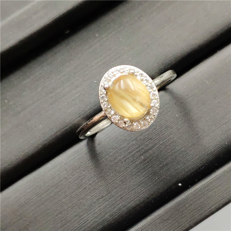 Natural Ouro Quartzo Rutilado Anel Ajustável 8x8mm Oval Forma 925 Esterlina Anéis de Prata Mulher Homem Aniversário AAAAA jóias
