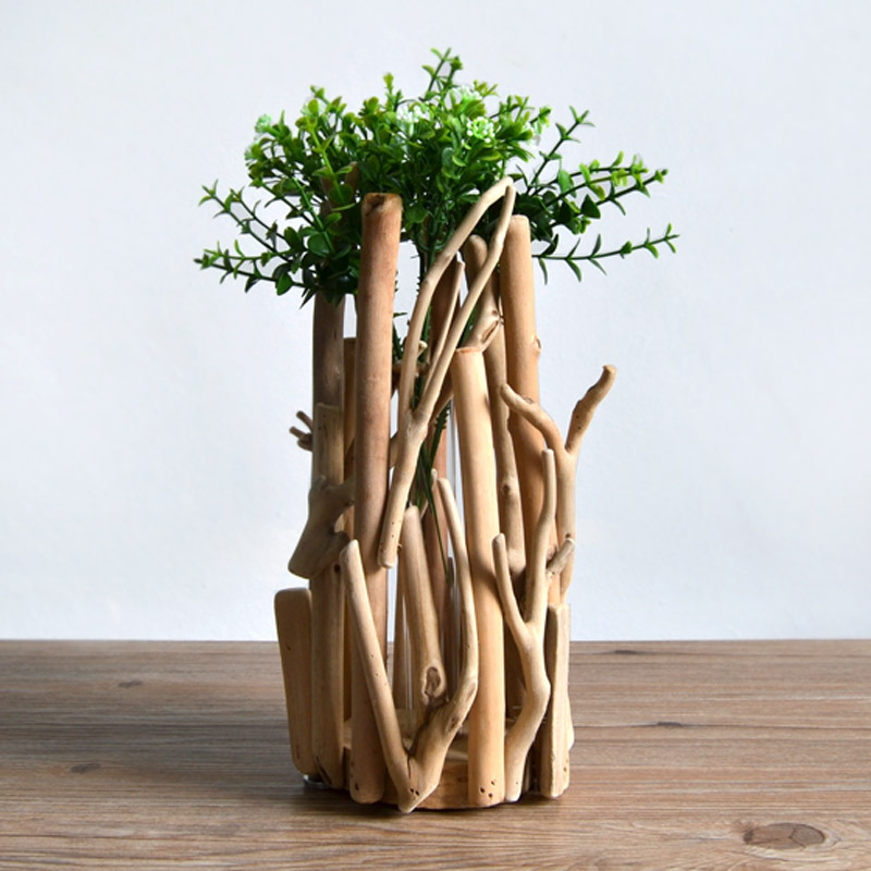 F habitat slow life handmade wooden ornaments wooden for Wooden plant pot ideas