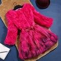 Подлинная рекс кролика и енотовидная собака мех зимнее пальто верхняя одежда женщины О шеи 3/4 рукавом натурального меха пальто и куртки осень g371