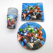 60PCS/lot Boys Favors Decorate Avengers/Captain America/Iron Man Theme Happy Birthday Party Plates Cups Baby Shower Napkins