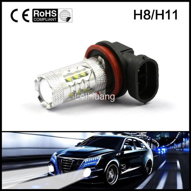 Car Auto H11 H8 80W High Power Bright LED Car Fog Running White Light Bulb Lamp LED led parking Fog light Auto headlight
