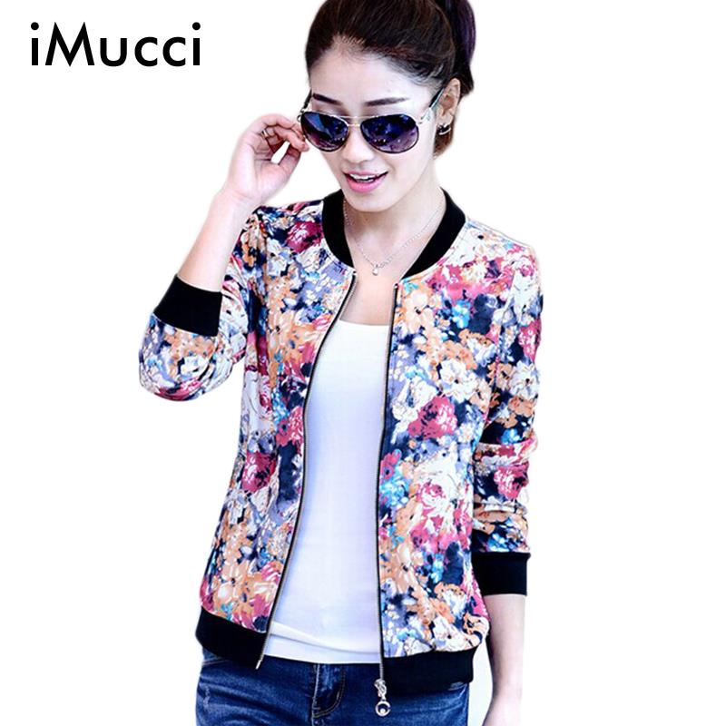 iMucci New Autumn Vintage Coat Sweet Floral Print Bomber Jacket ...