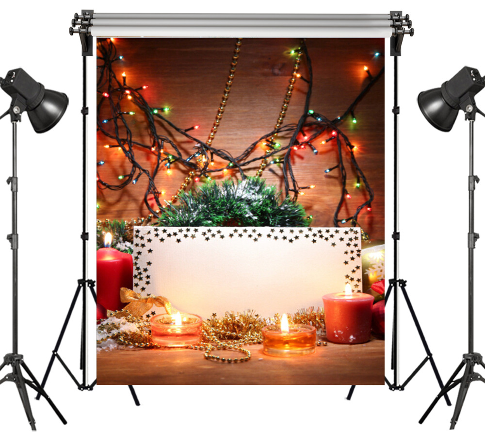 LB Polyester & Vinyl Christmas Theme Candles Colored Decorative Lights Backgrounds For Photo Studio Photography Backdrops Decor