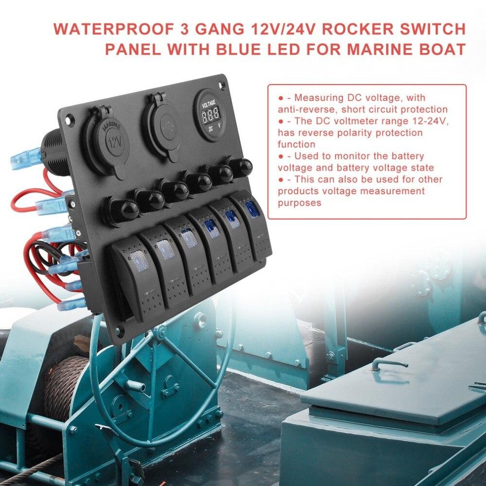 Practical Waterproof 6 Gang Toggle Rocker Switch Panel Car Marine Boat Circuit LED Breaker Voltmeter Aluminum Panel New DC Flat
