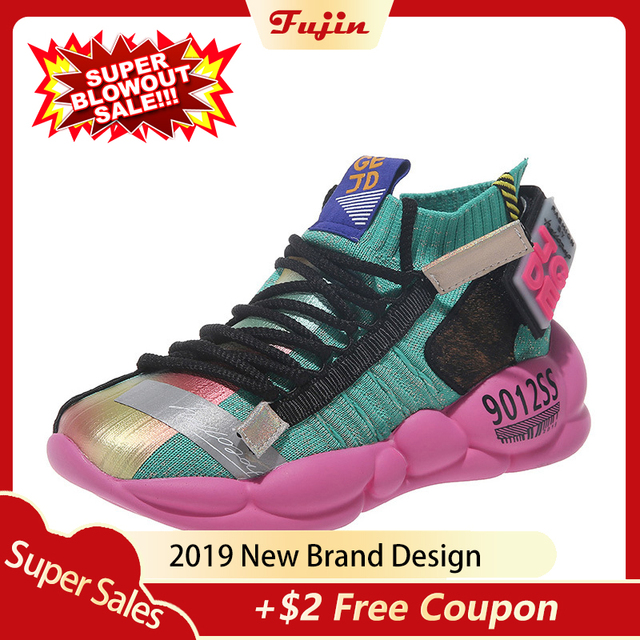 Fujin Summer New Clunky Sneaker Women Shoes 2019 Spring Flying and Weaving Breathable Reflective Thick Bottom Leisure Shoe Shoes