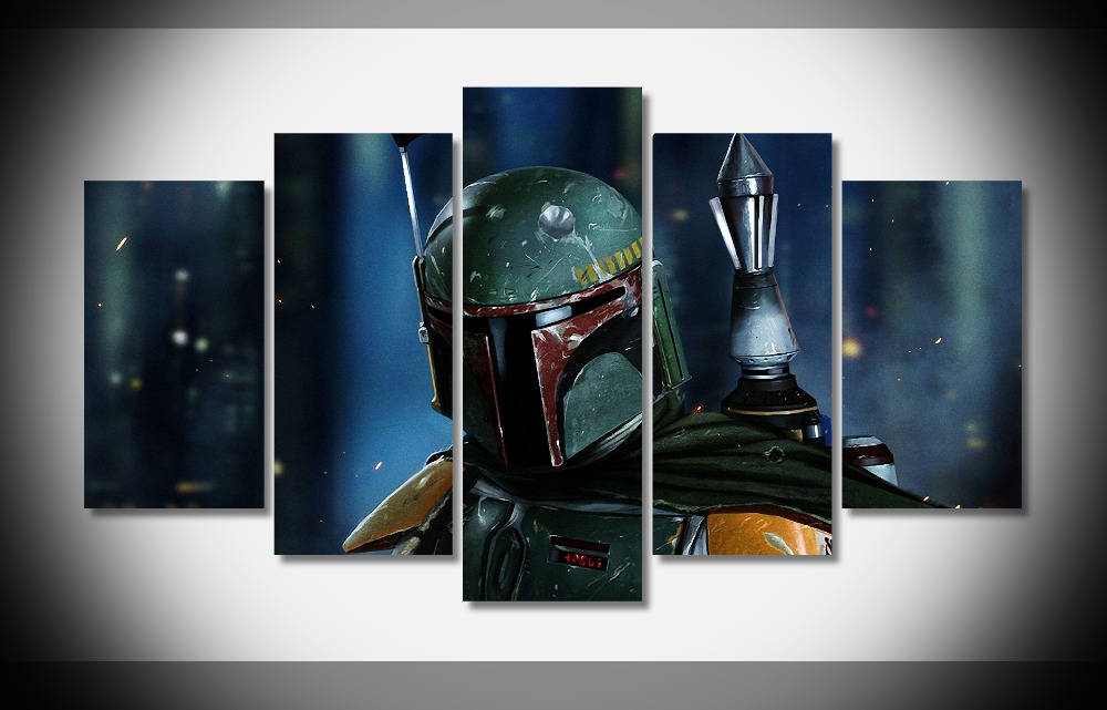 6540 The Boba Fett Helmet Gallery Star Wars Movie posters for teens boys - Print on Canvas framed gallery wrap Digital prnt wall