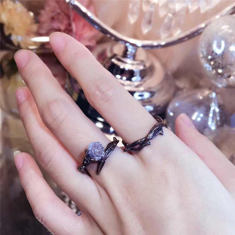 Oly2u nouveau réglable Vintage rétro couronne d'épines breloques épine anneau brindille anneau branche anneau pendentifs anneaux ouverts pour les femmes