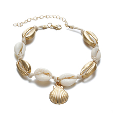 Vintage Gold Color Anklet Women shell sequins Beads Geometric Bracelet Charm Bohemian Ankle Boho Beach Foot Jewelry