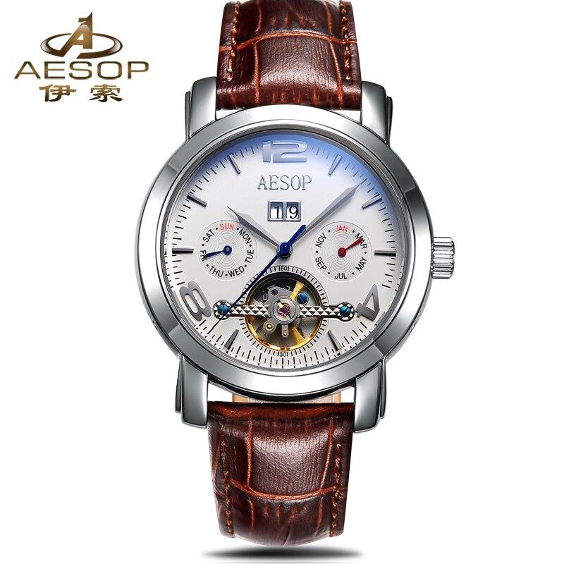 AESOP Leather Strap Skeleton Watch Men Waterproof Calendar Automatic Mechanical Wristwatches Relojes Masculino Hodinky Men Clock