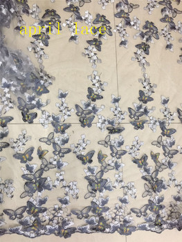 stock  HIG006#  5 yards  3D GREY  butterfly  embroidery  tulle mesh lace fabric for sawing bridal wedding dress
