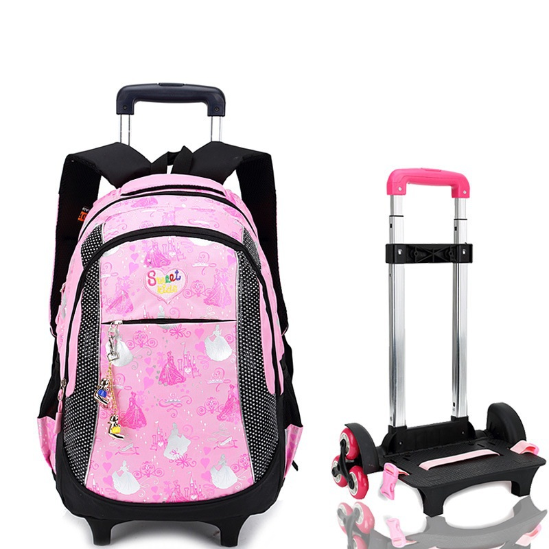 Women Backpack Trolley School bag For Girl Tie Rod Trolley Luggage Bag Children SchoolBags For Girls Wheeled Backpack & Bags 6 wheels high quality girls trolley backpack schoolbag wheeled bags for children trolley school bag boys detachable backpack