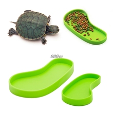 Useful Reptile Feeder Pets Crawler Bowl Basin Water Fountain Turtle Aquatic Pet Supplies New Footprint shape  N27 Drop Ship