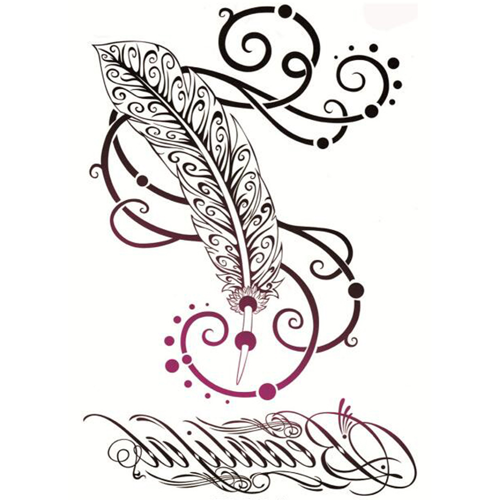 Yeeech Temporary Tattoos Sticker for Women Fake Sexy Feather Believe Design Large Magic Arm Leg Back Body Art Long Lasting Cover