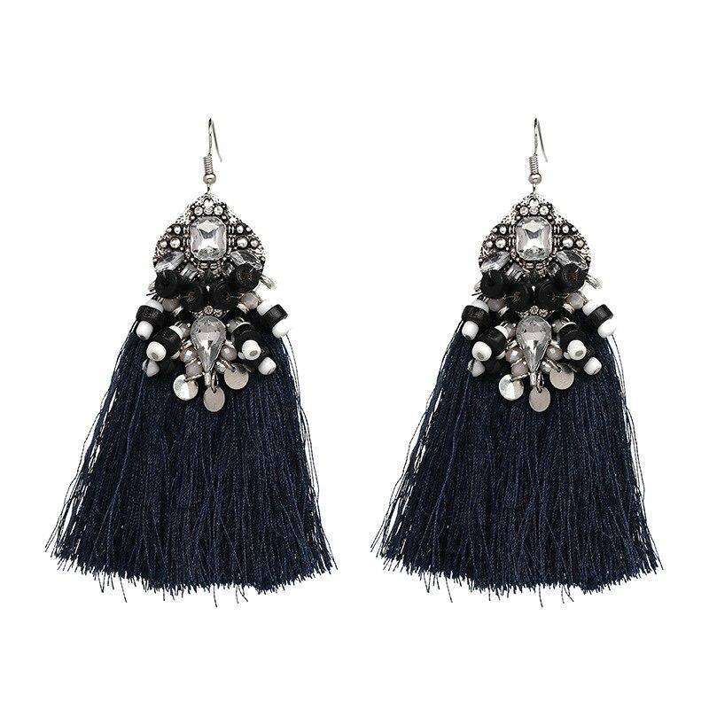 Qiaose New Handmade Luxury Beads Threads Tassel Earrings for Women Fashion  Boho Jewelry Women Maxi Dangle Earrings Wholesale-in Drop Earrings from  Jewelry ... 3d97d94aa4d2