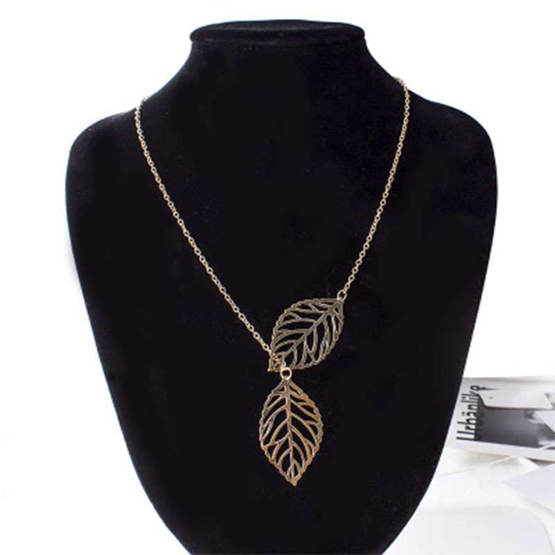 2019 Fashion Gold alloy Necklace Personality Infinity Cross Simple Metal Double Leaf Pendant Necklace Jewelry Wholesale WD254 in Pendants from Jewelry Accessories