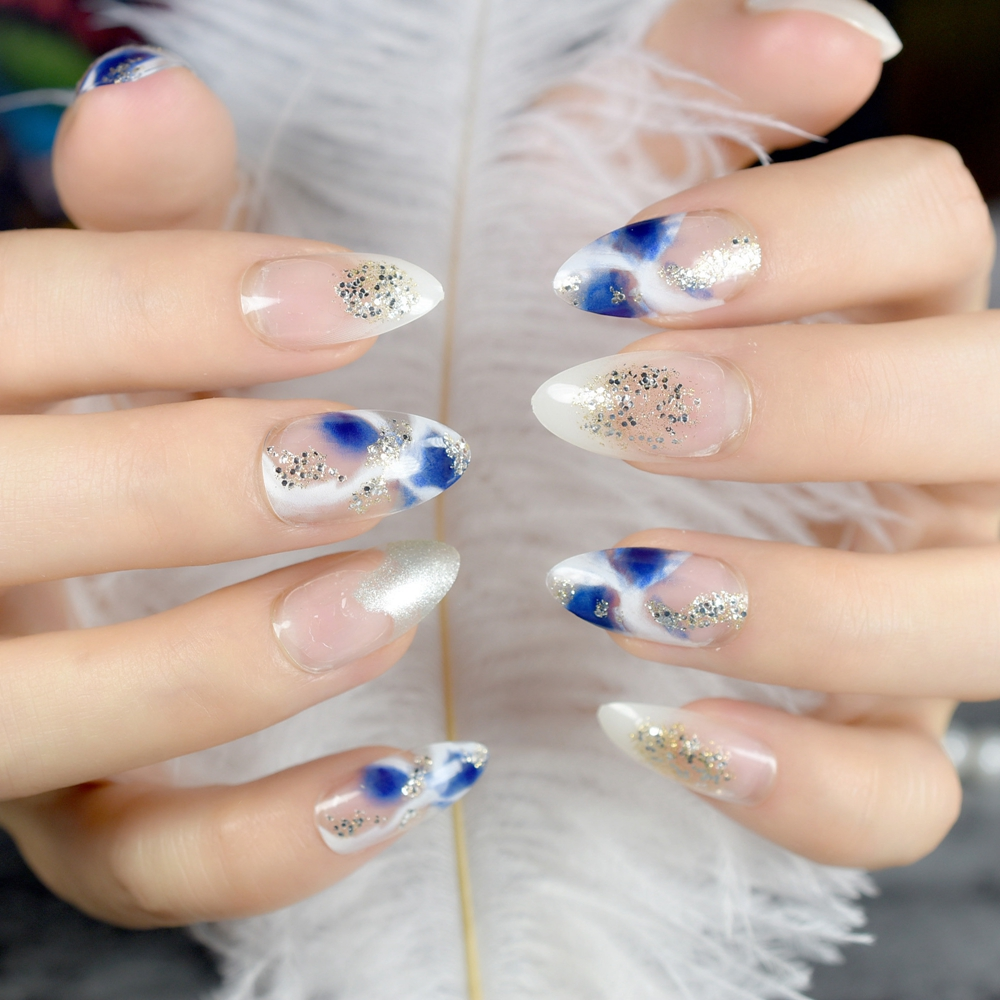 Shiny Candy Fake Nails Gradient Style False Nails Glitter Silver Blue White Acrylic Nails Tips Full Cover Manicure Tools