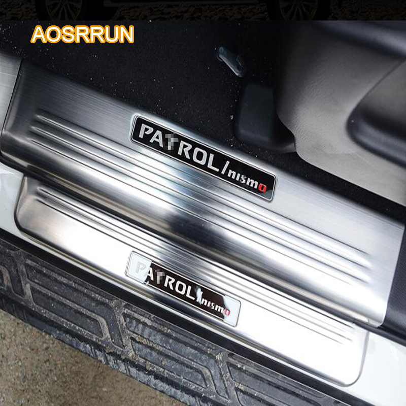 AOSRRUN Stainless Steel Door Sill Scuff Plate Trim LED Door Sill Scuff Plate Trim Car accessories For Nissan Patril y62 2017 sports car door sill scuff plate guard sills for 2014 mazda 6 atenza m6