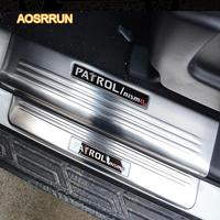 AOSRRUN Stainless Steel Door Sill Scuff Plate Trim LED Door Sill Scuff Plate Trim Car accessories For Nissan Patril y62 2017
