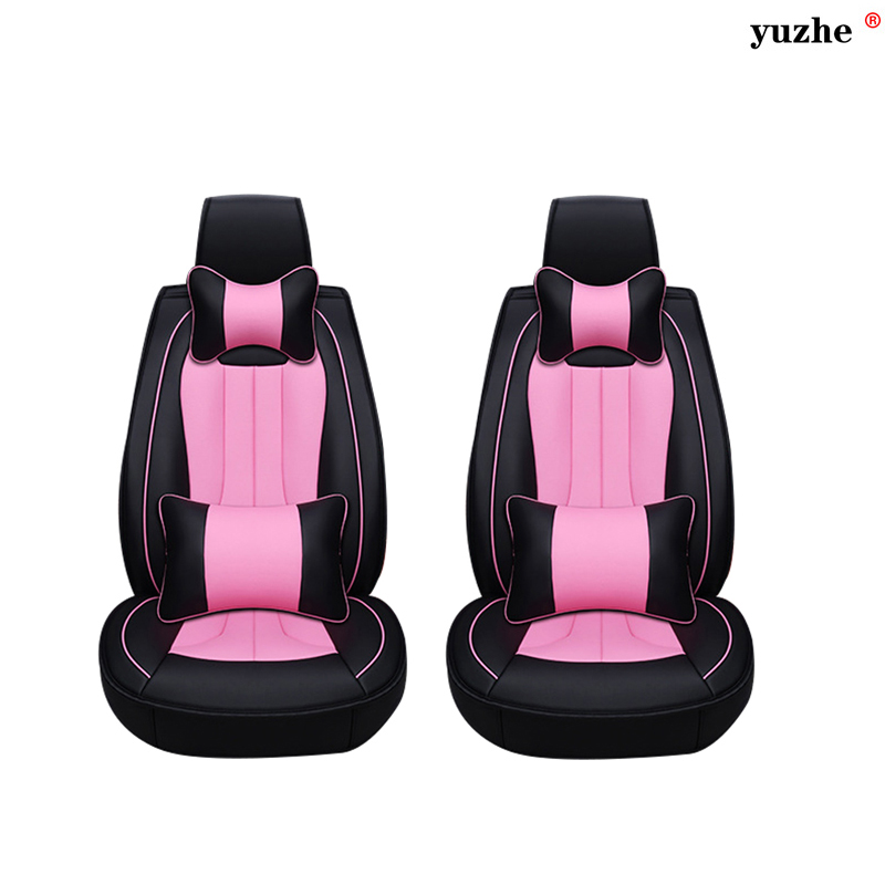 2 pcs Leather car seat covers For Hyundai IX35 IX25 Sonata Santafe Tucson ELANTRA Accent Verna I30 car accessories styling custom fit car trunk mat for hyundai ix25 ix35 elantra santafe solaris tucson verna veloster car styling tray carpet cargo liner