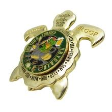 Custom Zinc Alloy Souvenir Gold Turtle Enamel Challenge Coin
