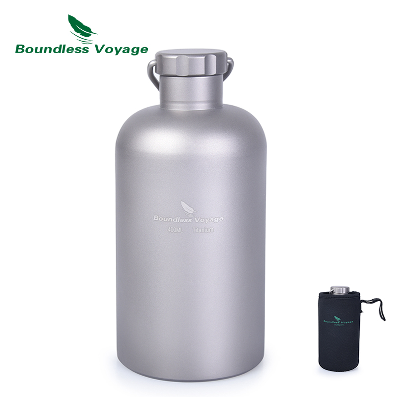 Boundless Voyage Titanium Sports Bottle With Titanium Lid Outdoor Camping Cycling Hiking Picnic Water Tea Coffee Drinkware 400ml