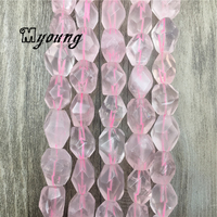 Rose Crystal Quartz Faceted Beads,pINK Crystal Nugget Beads,Gem Stone Drilled Beads For DIY Jewelry MY1566